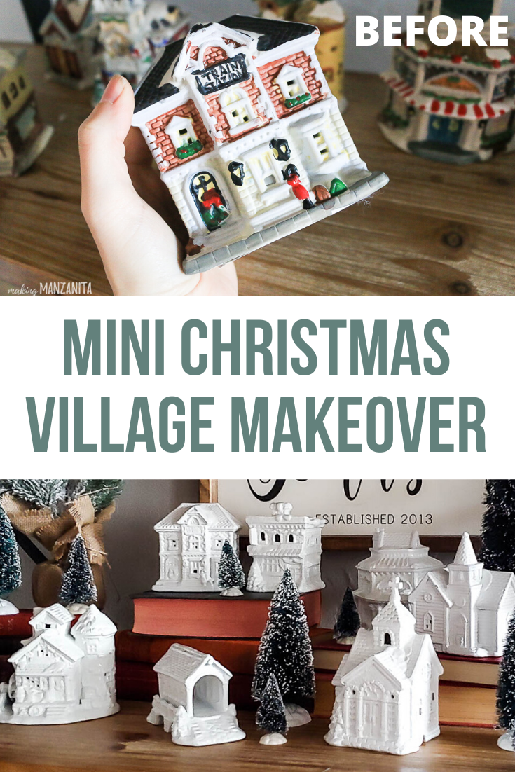 You can grab these vintage mini Christmas village houses up at thrift stores or even Dollar Tree or the dollar stores. They look so cute painted white after a DIY makeover to match neutral farmhouse Christmas decor. #minivillage #christmasvillage #christmasdecor #christmasdecorations