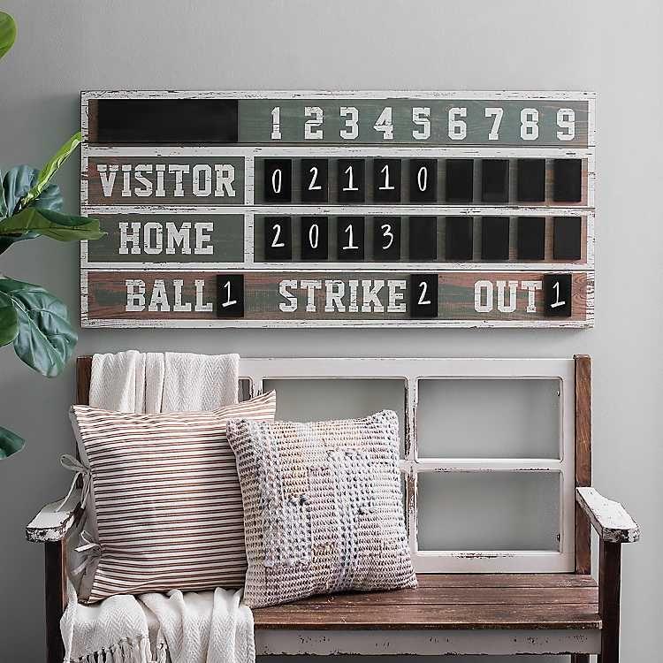 Vintage Ballpark Scoreboard Chalkboard Wall Plaque Sports Wall