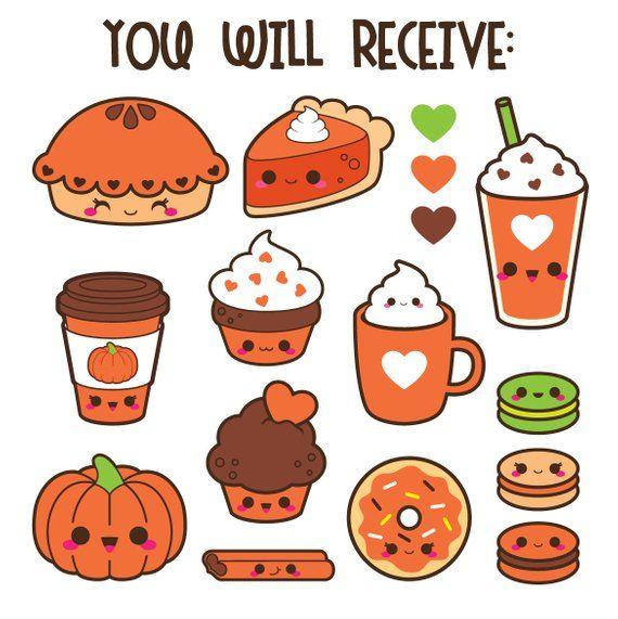 Coffee clipart, kawaii coffee clipart, pumpkin spice ...