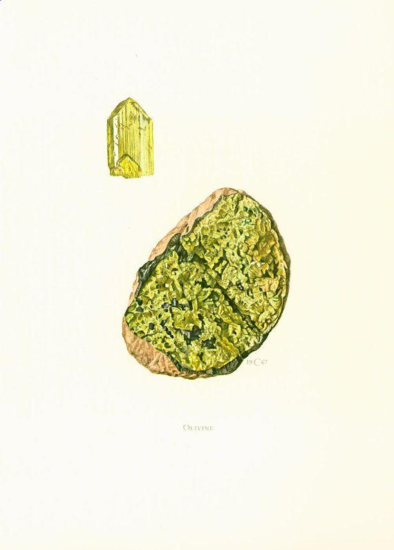 Geological Wall Art. Antique Mineralogy Print. Mineral wall art. Vintage geology art. Gift idea for geologist student. Gemstones illustrations.  Published in Paris. 45 year... #peridot ➡️ http://jto.li/8YY7J