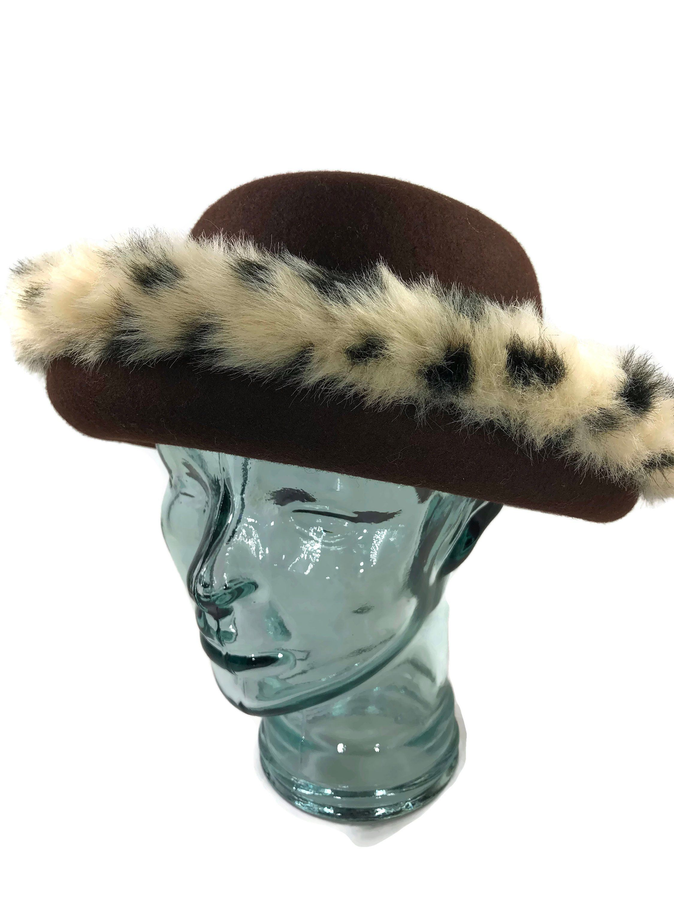 51ff99a29cc7 Beautiful Vintage Brown Wool Felt and Faux Fur Leopard Print Hat by  LoubooluJewellery on Etsy