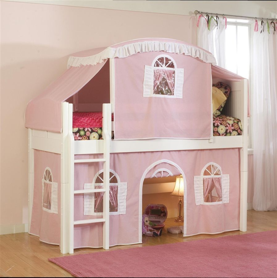 Twin low loft bed with slide  Cottage Twin Loft Bed w Top Tent u PinkWhite Bottom Curtain in