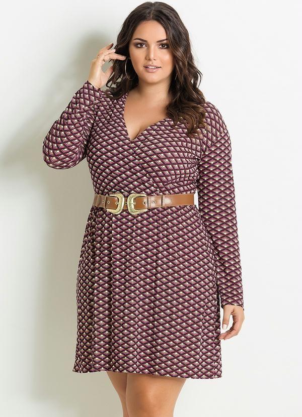 9847244079ea Vestido Decote V Estampa Gravataria Plus Size - Posthaus | MODA PLUS ...