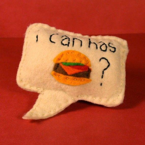 Catnip Cat Toy 'I can has cheezburger' speech bubble