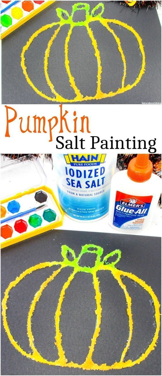 How to Make Halloween Pumpkin Salt Painting with Kids #fallcraftsforkidspreschool