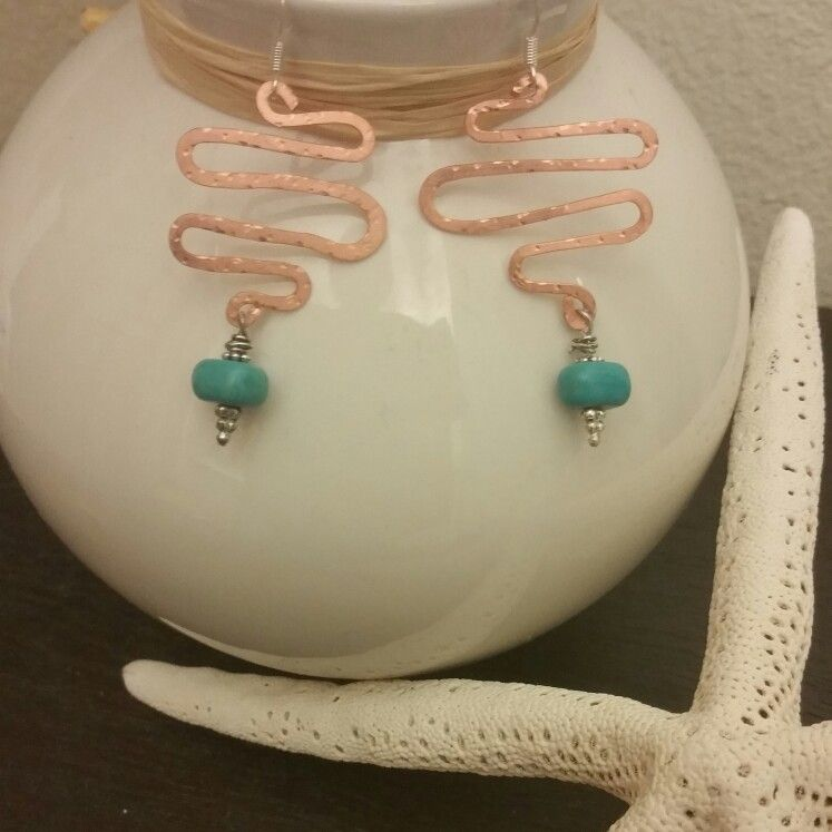Fun Copper and Turquoise Earrings by Jaqlyn Marie Designs!