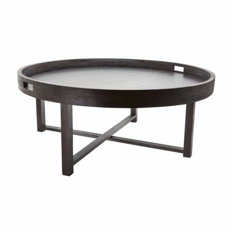 Contemporary Brown Teak Tray Coffee Table Round Black Coffee