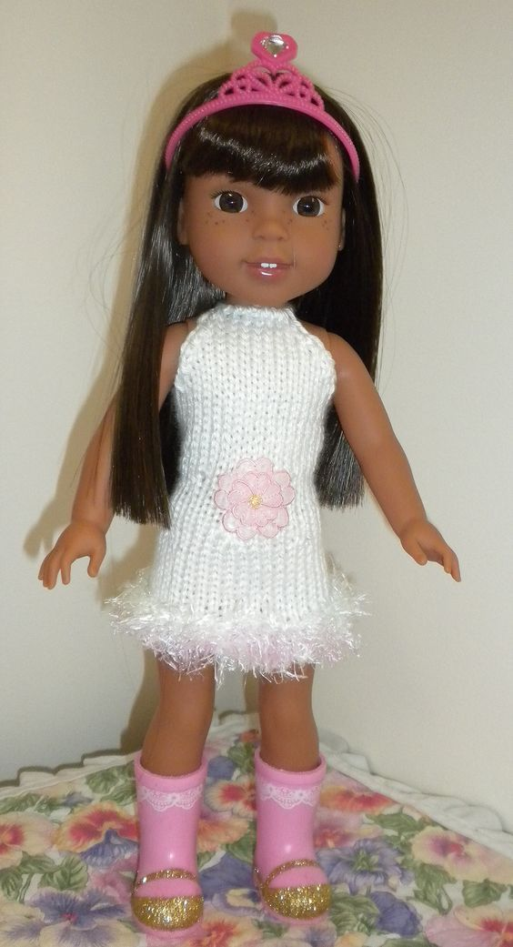 Dollie-Clothes free knitting doll patterns | WW & H4H White Dress ...