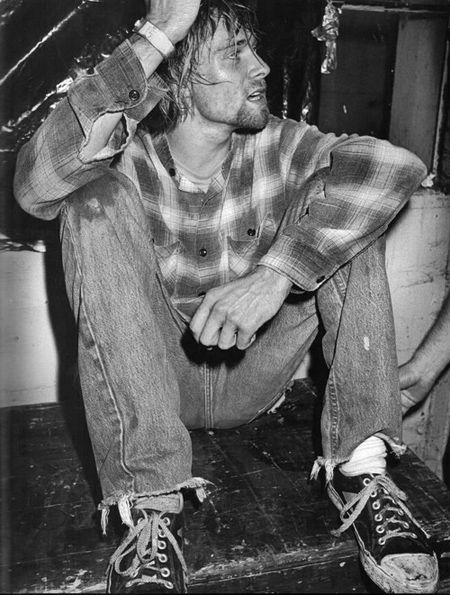 "Kurt Cobain ""He simply came off stage, sat down and cried for about half a minute. Then he was fine."" Seattle, 1990 #rock n roll"