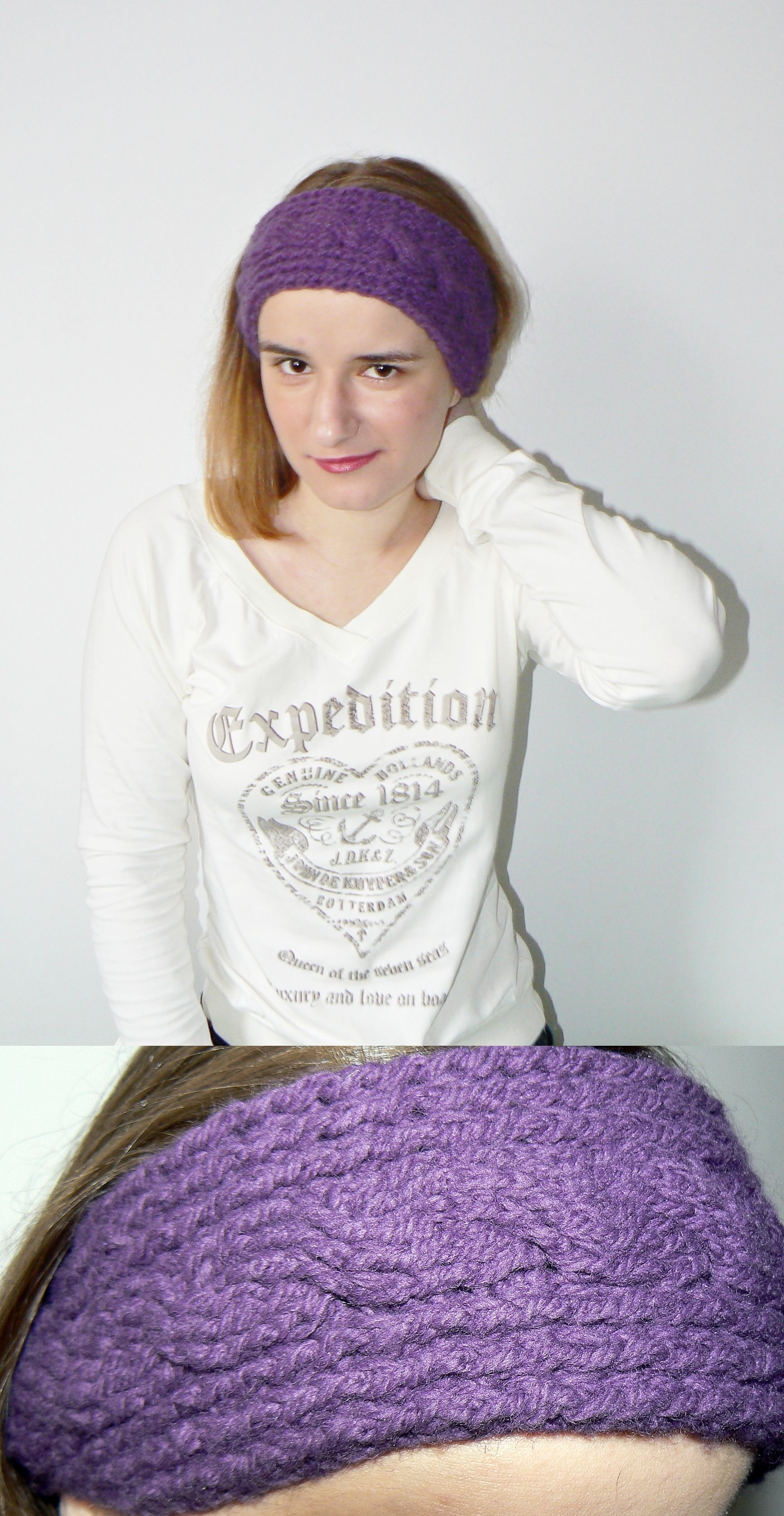 Purple crochet hair band with a decorative braid.   Crochet hats ...