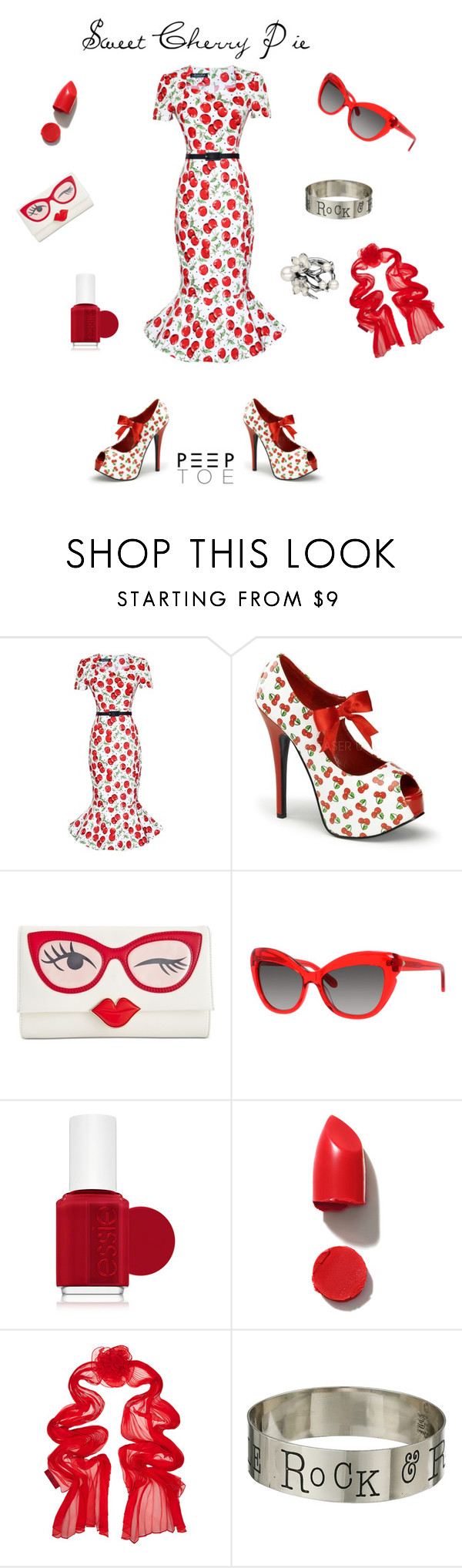 """Sweet Cherry Pie"" by masters-pj ❤ liked on Polyvore featuring Kate Spade, Essie, NARS Cosmetics, Valentino, Gypsy SOULE, Shaun Leane and modern"