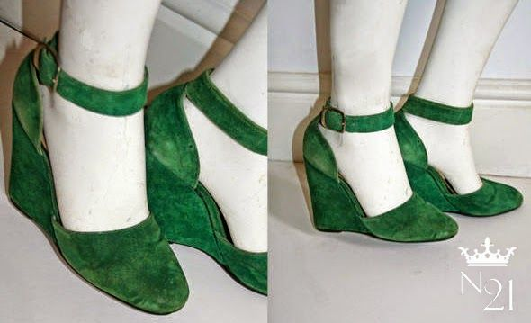 Biba Shoes - green suede Mary Janes