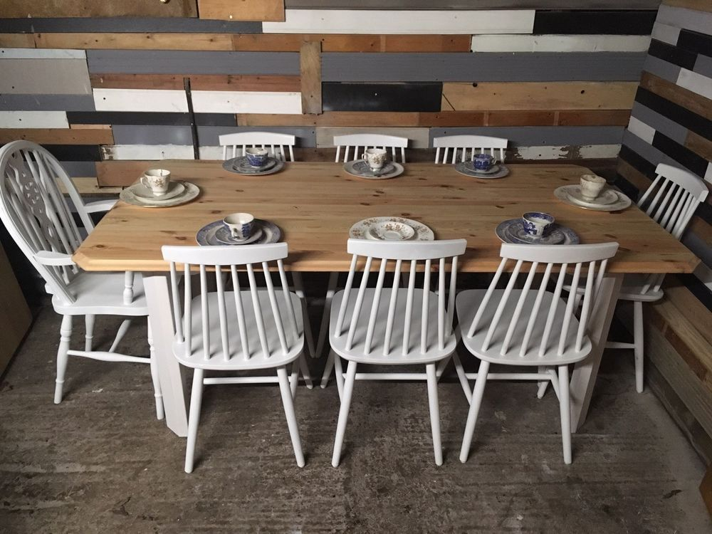 Shabby Chic Pine 6 Foot Farmhouse Kitchen Dining Table And 8 Dining Chairs Home Furniture Diy Fur Dining Table In Kitchen Dining Chairs Farmhouse Kitchen