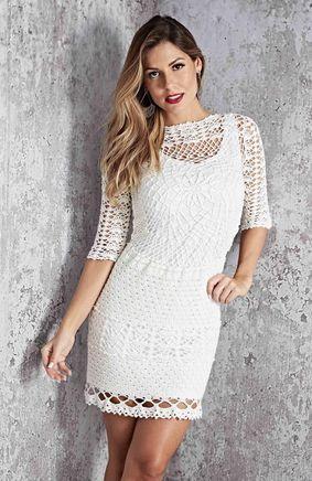 8c8a132e44a Белое ажурное платье крючком. Подборка красивых летних платьев со схемами