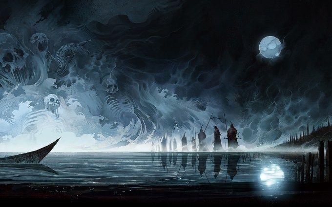 skulls painting dark moon wallpaper hd 1080p Fantasy