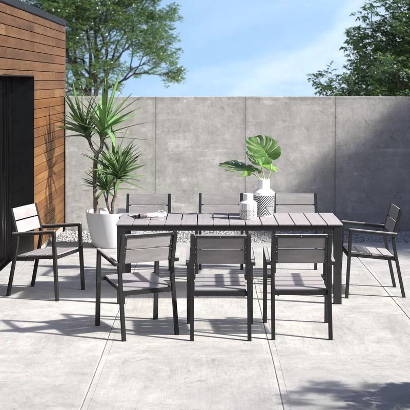 Erickson 9 Piece Outdoor Patio Dining Set Reviews Allmodern In 2020 Modern Outdoor Dining Sets Modern Outdoor Dining Patio Dining Set