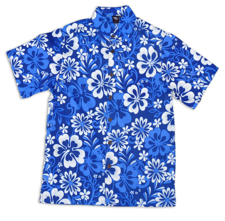 Squish aloha hawaiian shirt blue fiji print cotton for Lsu hawaiian print shirts