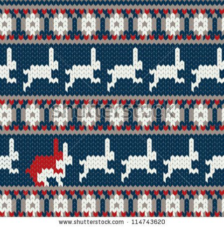 Funny Card With Two Rabbits In Love Norwegian Knitted Pattern By