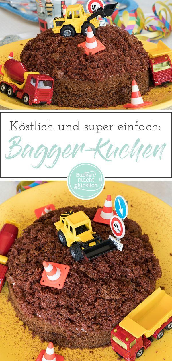 Einfacher Baustellen-Kuchen (Baggertorte) | Backen macht glücklich #tortegeburtstag