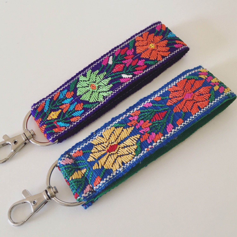 Pretty purple floral Wrist Keychain boho wristlet key chain for women