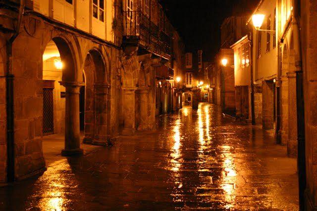Rua Nova, en el corazón del centro historico, en una noche lluviosa...más que de piedra parece hecha de espejos!