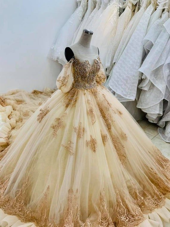 Princess Yellow/Gold Beauty and The Beast Wedding