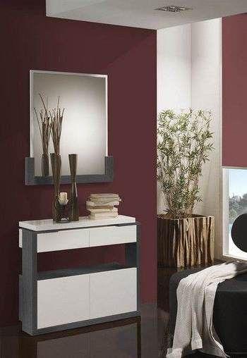 Meuble d\u0027entrée moderne avec meuble à chaussures + miroir ADELE