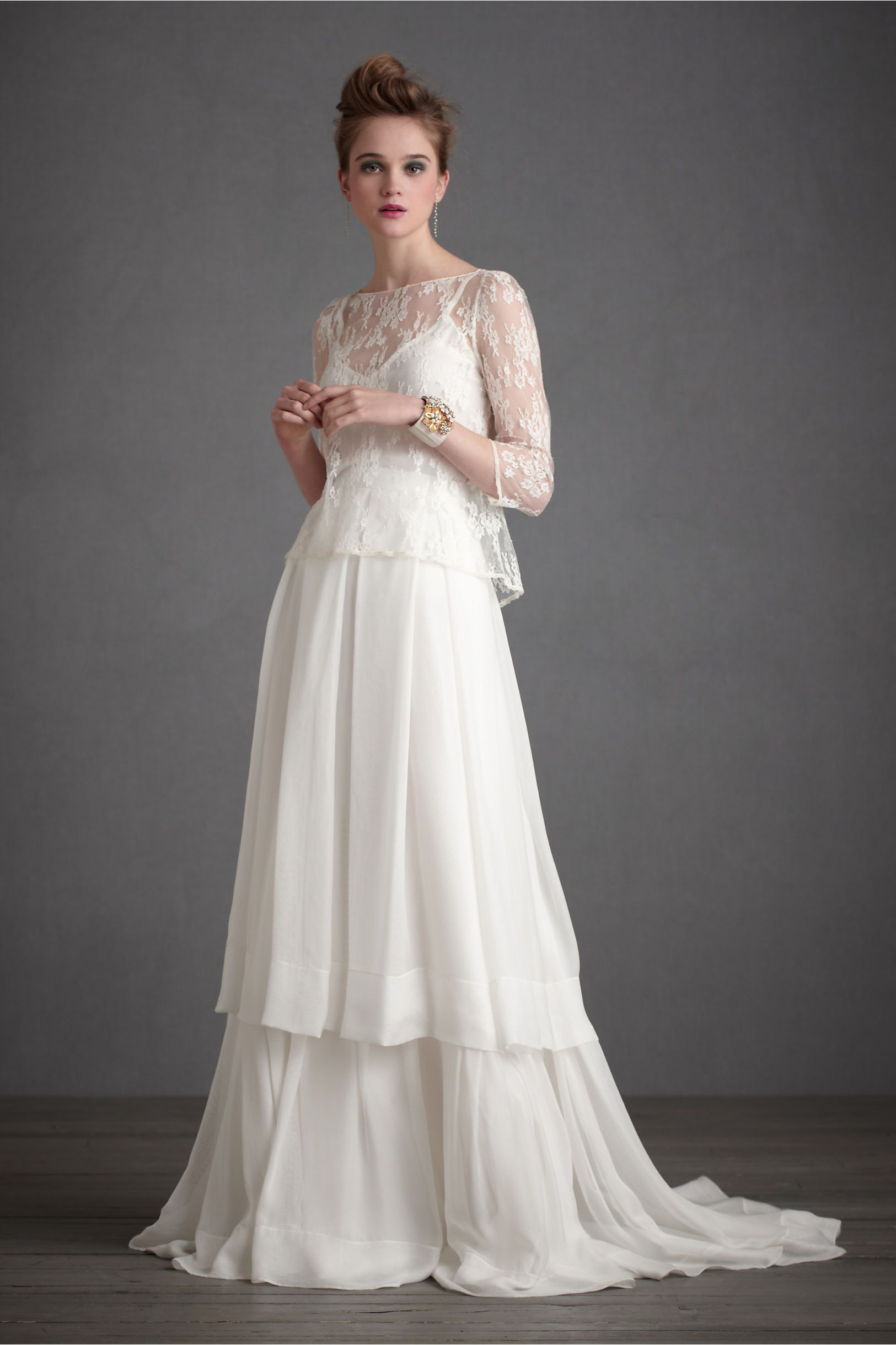 Long sleeved lace wedding dress  The Lazard Set from BHLDN  WEDDING dresses  Pinterest  Wedding