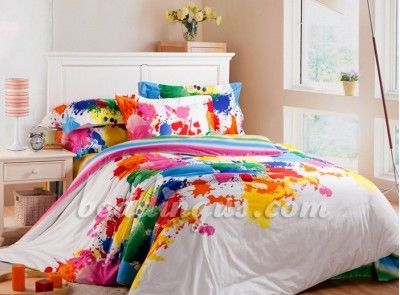 Paint Splatter Bedding Set Comforter With Colorful Printing Sets