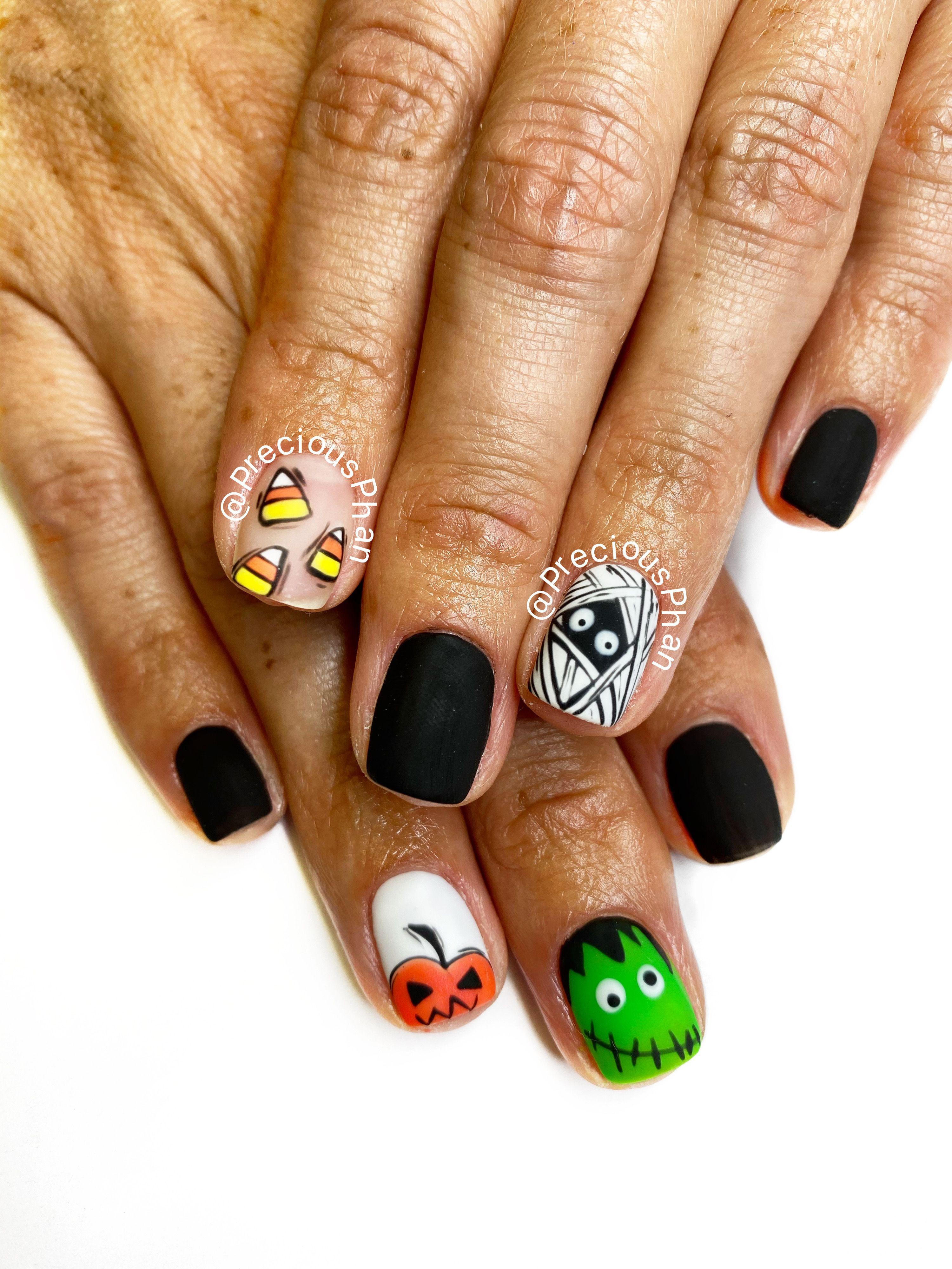Mummy nails. Frankenstein nails. Pumpkin nails. Candy corn ...
