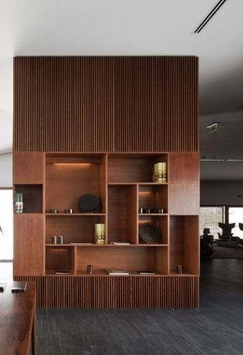 Copper Shelving Grid Nice Combination With The Wooden Slats