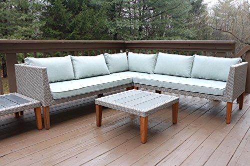 Oliver Smith Large 5 Pc Modern Rattan Wiker Sectional Sofa Set Outdoor Patio Furniture Fully Embled
