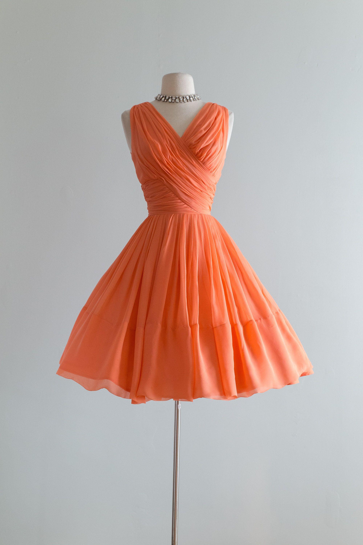 Vintage 1960s Dress Stunning Early 1960s Silk Chiffon Cantaloupe Party Dress By Miss Elliette Waist 24 Vintage Dresses 1960s Dresses 1960 S Dress [ 3000 x 2000 Pixel ]