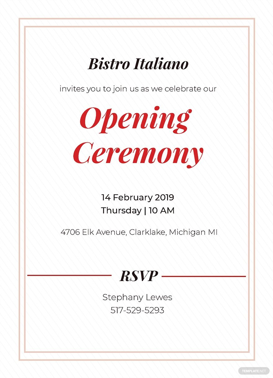 Free Opening Ceremony Invitation Card Template Card Template Invitation Cards Shop Opening Invitation Card