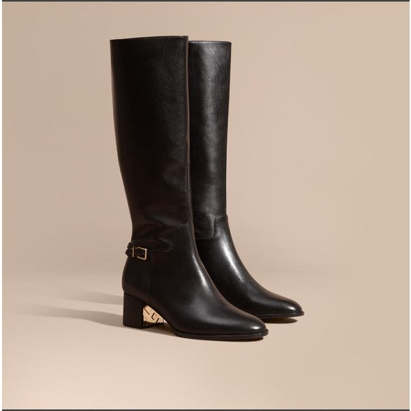 Burberry Knee-high Leather Boots (2,205 NZD) ❤ liked on Polyvore featuring shoes, boots, leather boots, real leather knee high boots, burberry boots, genuine leather boots and knee length boots