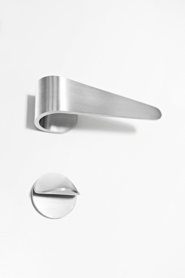 stainless steel door handle with lock fold design tord boontje formani