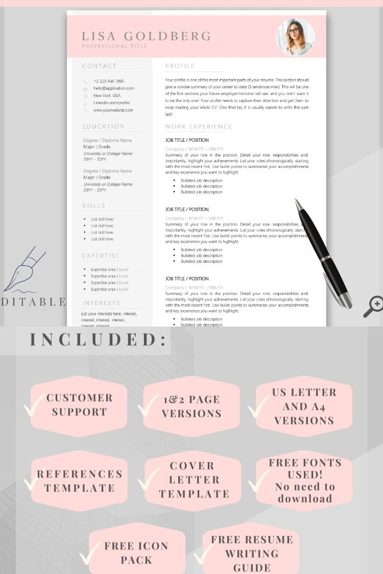 Professional Resume Template Word. CV Template