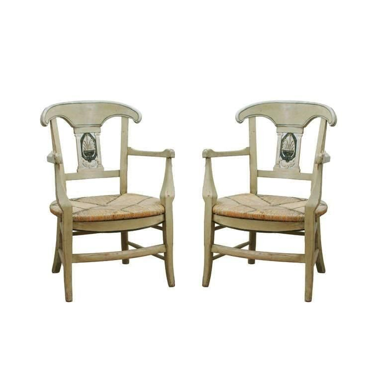 pair of mid 19hc painted french provincial louis xv style chairs