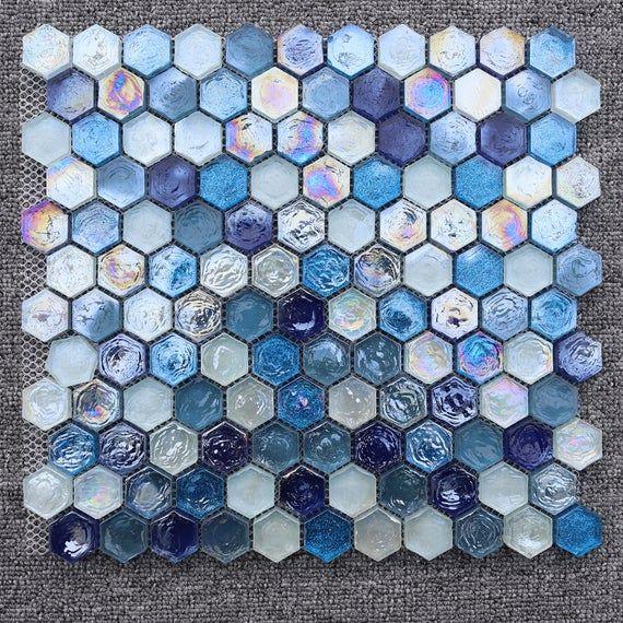 Hexagon Sugar Blue Rainbow Stained Glass Mosaic Tile Etsy In 2021 Glass Mosaic Tile Backsplash Mosaic Tile Backsplash Glass Mosaic Tiles