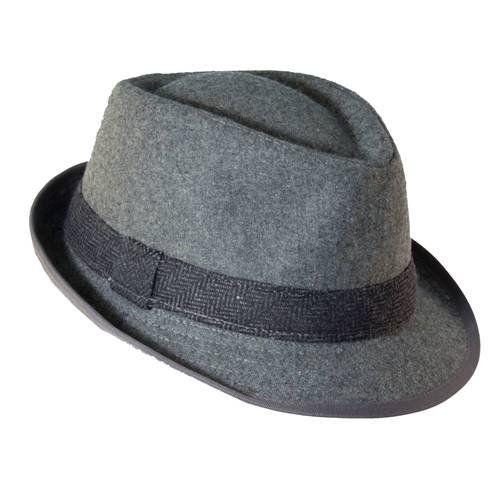 Dorfman Pacific Men s Wool Blend Herringbone Band Fedora Hat (Grey ... ed9c0cf641ee