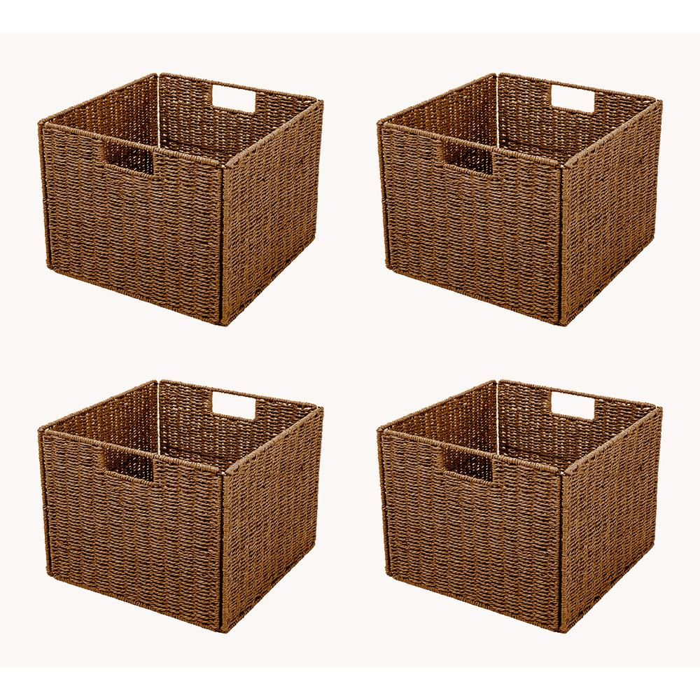 Trademark Innovations 13 In X 10 In Foldable Storage Basket With Iron Wire Frame 4 Set Bskt Sqbr 4x The Home Depot Wire Basket Storage Storage Baskets Fabric Storage Baskets
