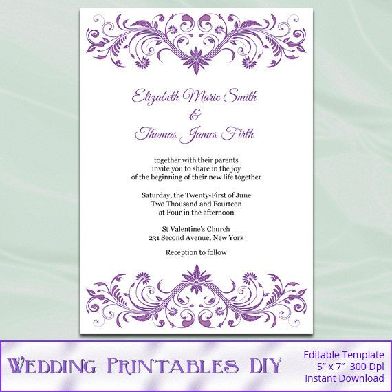 Diy Printable Wedding Invitation Templates Orchid Purp With