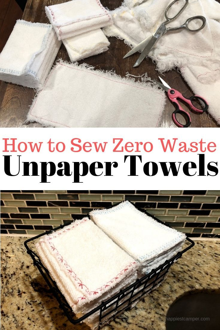 Zero Waste Unpaper Towels  Happiest Camper is part of Sewing - Step by step instructions with photos to make zero waste unpaper towels  It's easy to reduce your paper consumption and save money