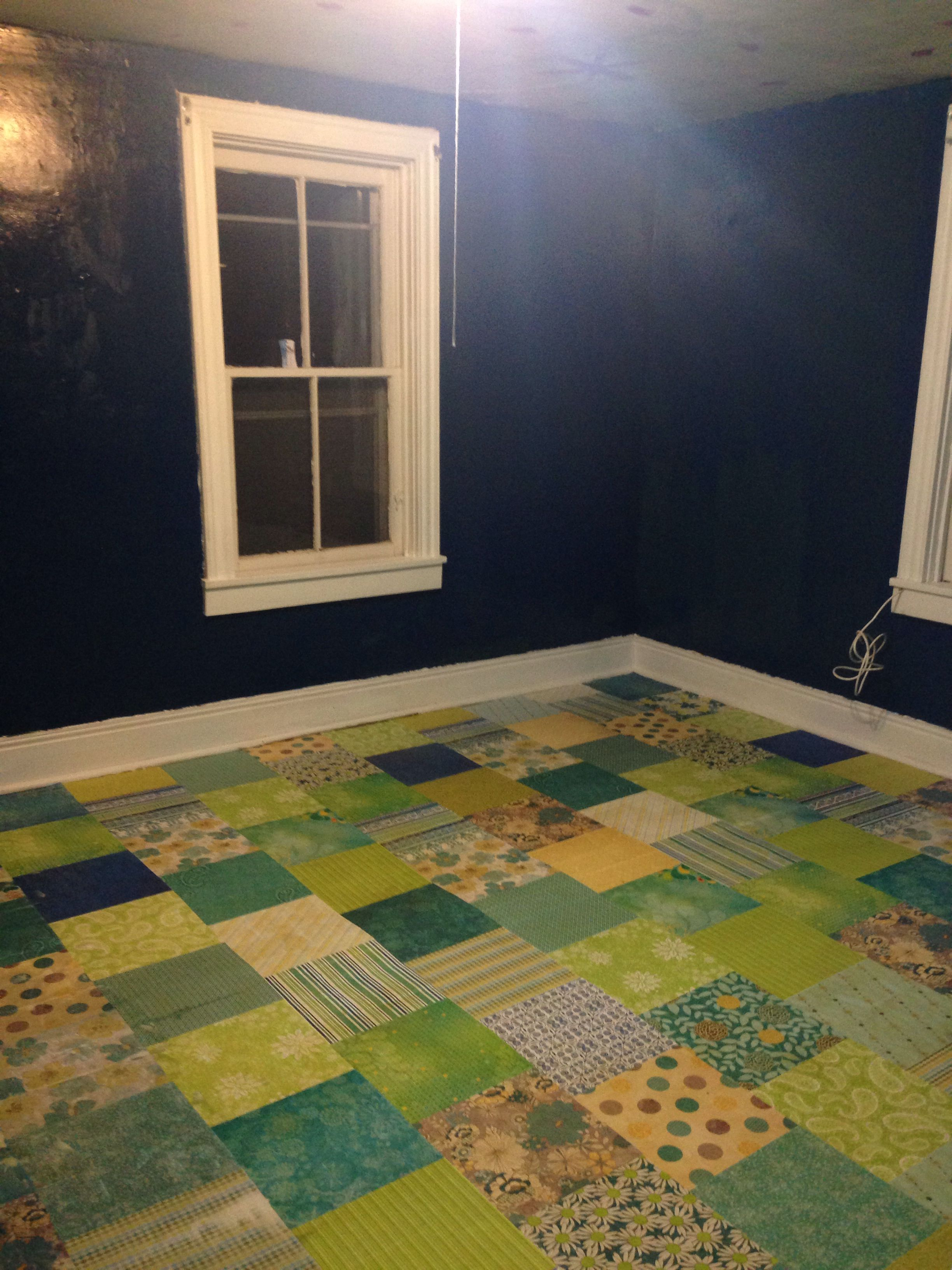 Scrapbook Paper Floor Over Wood Painted Floors Diy Flooring