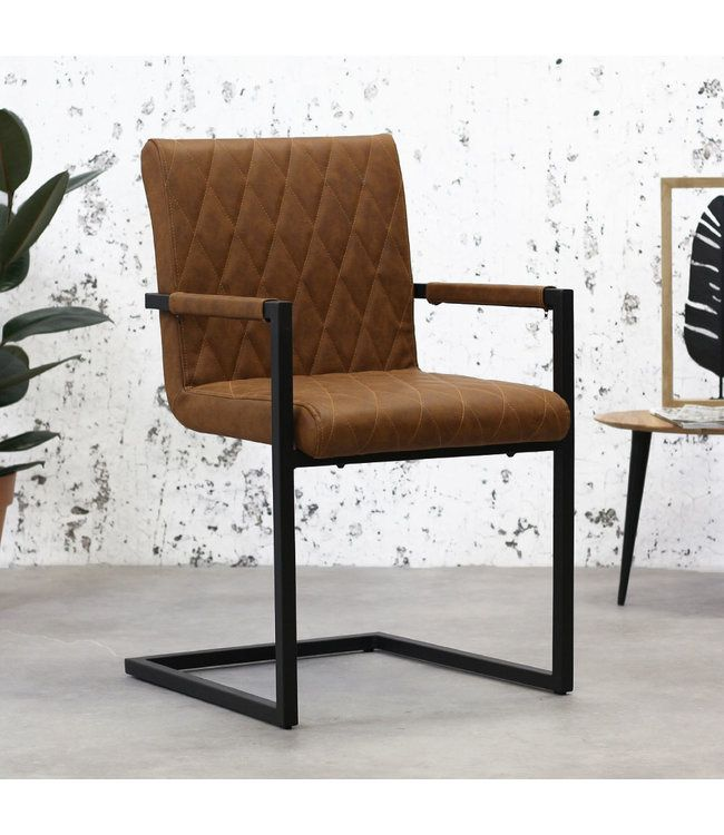 Industrial Dining Chair Rambo Cognac with arm