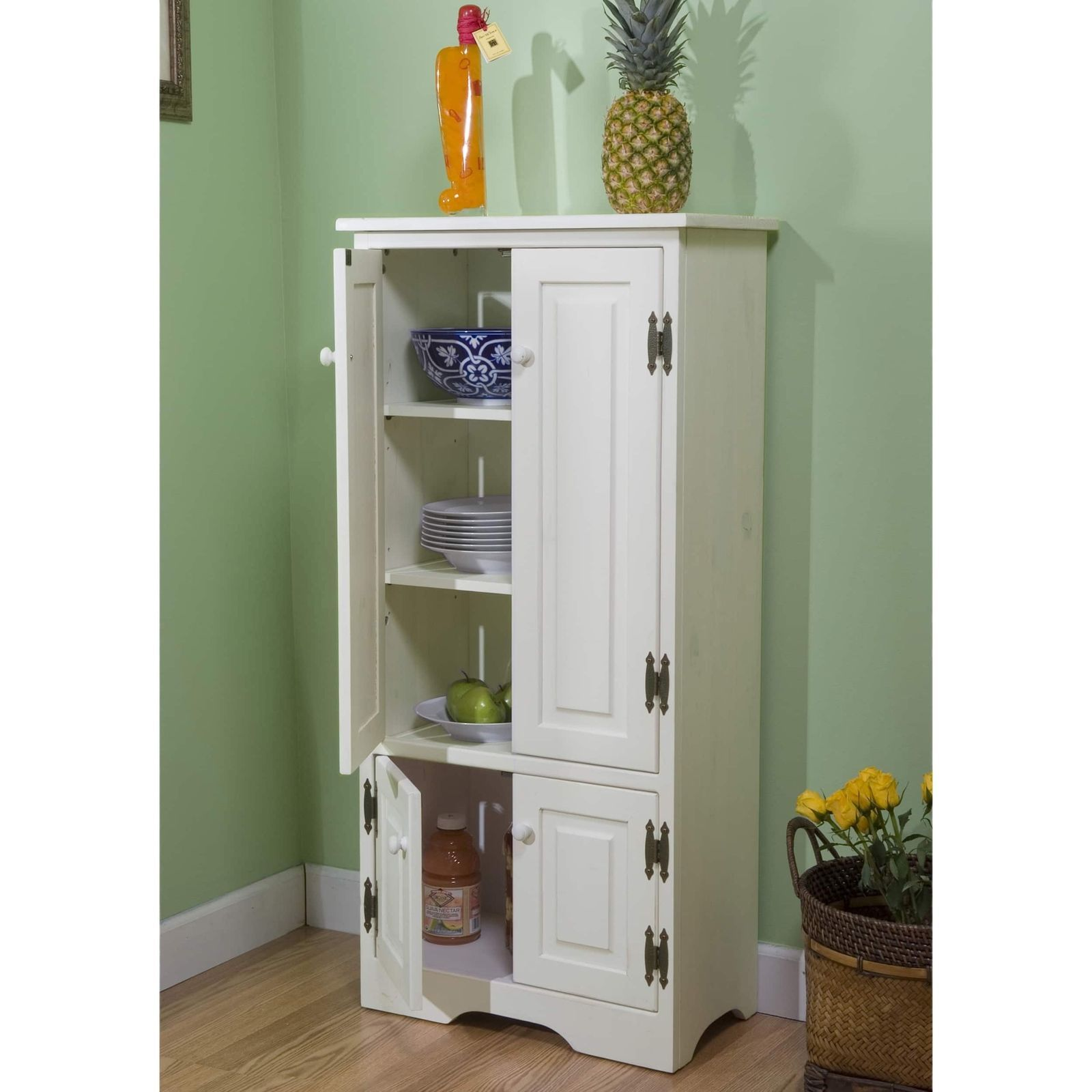 White Wood Tall Kitchen Pantry Food