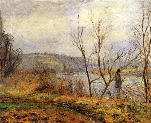 Les banques de l'Oise, de Pontoise (aussi connu comme l'homme Pêche) - Camille Pissarro