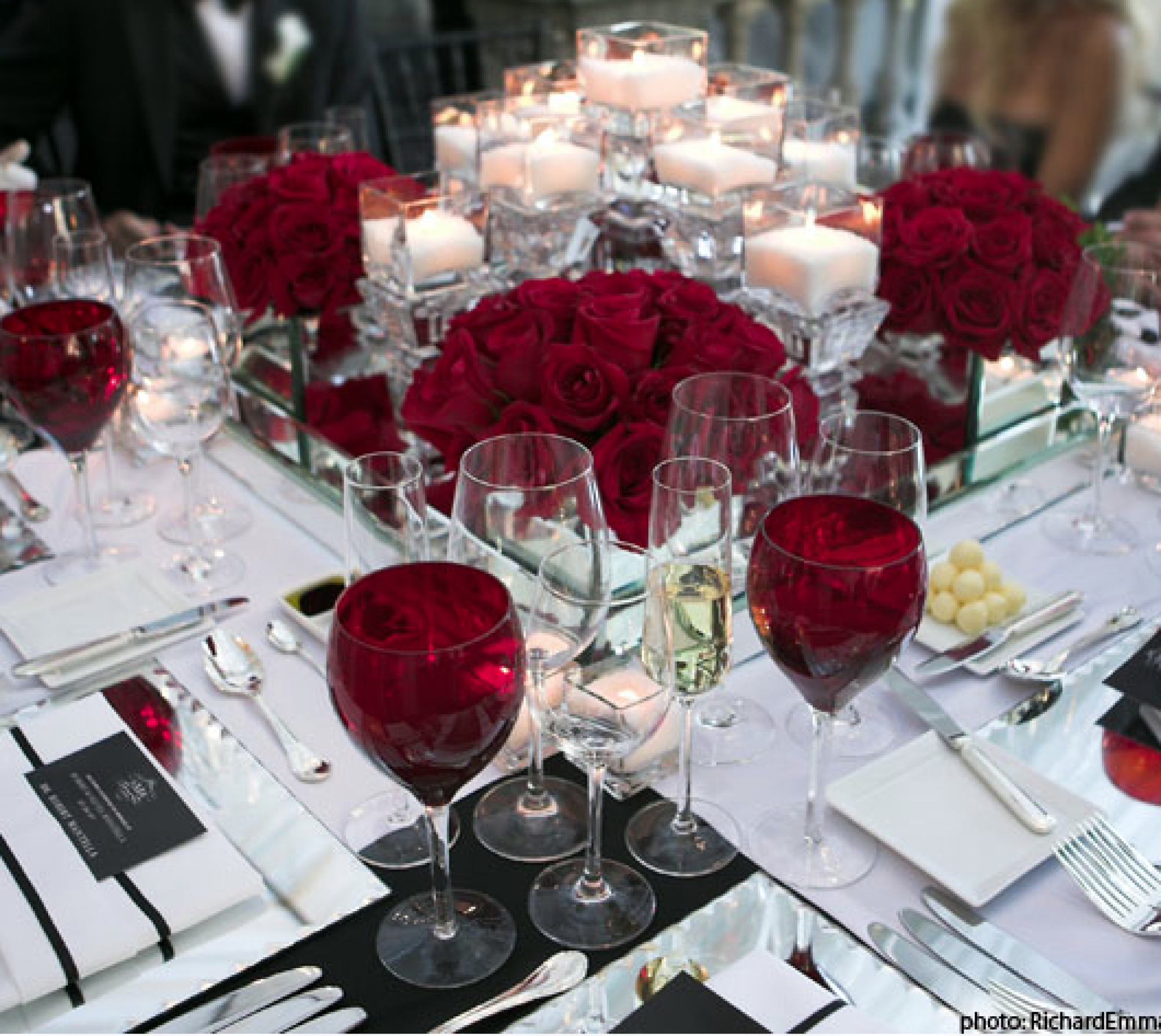 A Sophisticated And Formal Table Setting Deep Red White