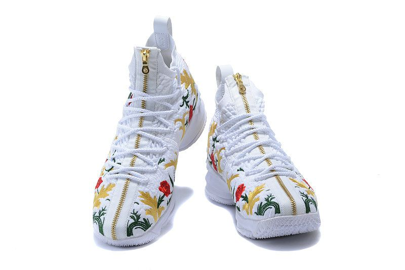 low priced 8c902 d3e55 Cheapest And Latest New Arrival March 2018 Nike Cheap LeBron 15 XV Shoe  Floral Embroidery White Red Gold