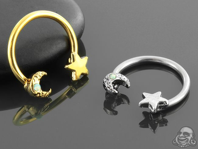 Moon And Star Circular Barbell Septum Piercing Jewelry